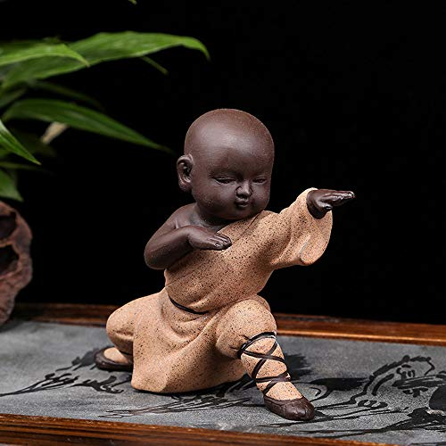 KINGZHUO Ceramic Little Cute Buddha Statue Monk Figurine Creative Baby Crafts Dolls Ornaments Gift Chinese Delicate Ceramic Arts and Crafts kung fu Little Monks Tea Accessories (Type 4)