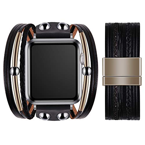 VIQIV Multi-Layer Wrap Bracelet Band Compatible with Apple Watch 42mm 44mm Sports Watches for Men Women, Magnetic Buckle Cuff Bracelet Jewelry Wrist Strap for iWatch Series SE 6/5/4/3/2/1, Black