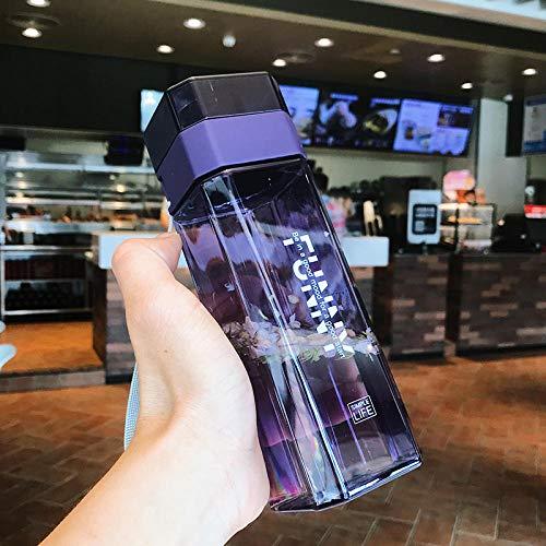 XIXISA Botella de Agua de plástico Cuadrada 500ml Botella de Bebida portátil Botella de Exterior a Prueba de Fugas Botella de Sellado de Jugo de Fruta Taza de Estudiante Escolar-A