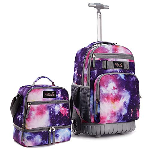 Tilami Rolling Backpack 19 inch with Lunch Bag Wheeled Laptop Backpack, Galaxy Purple