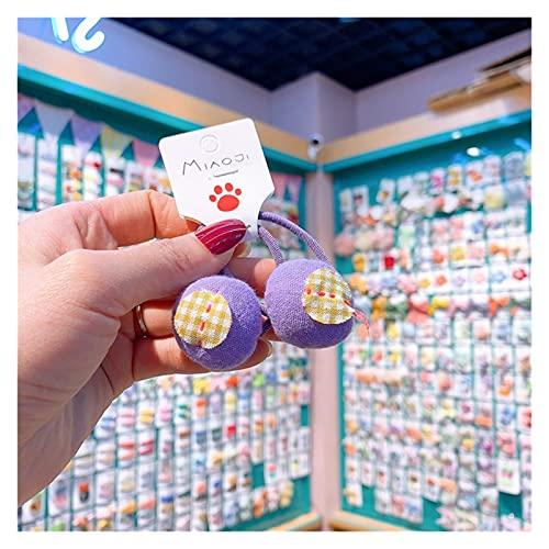 Cuerda de pelo para niños 2021 Nueva Corea estilo niña cuerda de pelo color de caramelo bordado floral bordado par goma bandas para la moda de los niños Accesorios para el cabello ( Color : F )