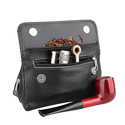Custodia da pipa in vera pelle, per 2pipe, pressino, filtro, pulitore, preserva la freschezza