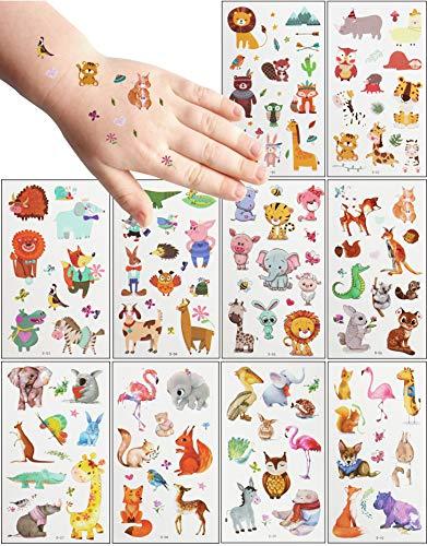 MEIXI Tattoo Kinder Tier Tattoos Set,20 Blätter wasserdichte Kindertattoos , Hautfreundliche Kindertattoos Berufe,temporäre Tattoos Kindergeburtstag Mitgebsel, Party, Festival