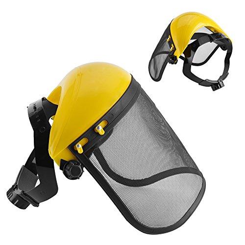 Casco de seguridad con Visera de Malla Metal Casco Visor Plásico Protección de Cara para Desbrozadora