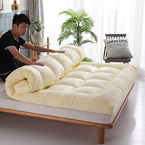 MWPO Colchón Plegable para Dormitorio de Estudiantes, tapete de Tatami para Piso, colchón para futón de Tatami, colchón para Dormitorio japonés, colchón para Acampar, Beige, 90x200cm