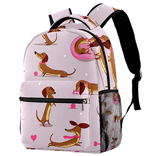 TIZORAX Backpack Cute Sausage Dog School Bag Rucksack Travel Casual Daypack for Women Teen Girls Boys