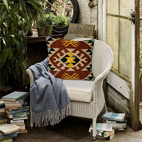 Handicraft Bazarr 18'' x 18'' Indian Jute Kilim Cushion Cover Handwoven Kilim Moroccan Rug Vintage Rug Throw Pillow Cases Hand Woven Living Room Decor Sofa Throw Pillow Jute Sofa Cushion Case