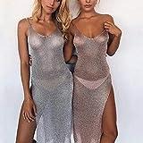 Karrychen Bikini de Malla Transparente con Protector Solar de Verano para Mujer, Vestido sin Mangas de Fiesta de Club de Playa con Abertura Alta sin Espalda de Color sólido metálico, Dorado # L