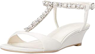 Low Wedge Crystal and Pearl T-Strap Sandals Style Payton