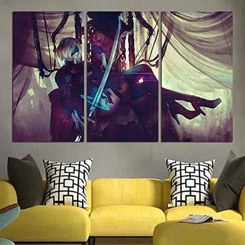 IMAX666 Cuadro En Lienzo,Imagen Impresión,Pintura Decoración,Canvas De 3 Pieza,50X70Cm,Luz De Espada Nier Automata Mural Moderno Decor Hogareña