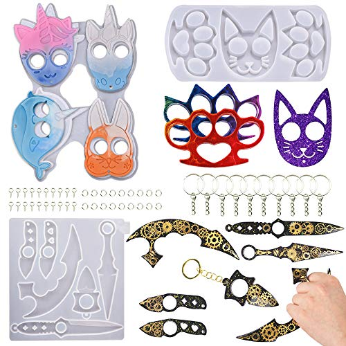 3Pcs Resin Mold Self Keychain Animal Pendant Keychains Molds Silicone Epoxy Molds for Touchless Brass Knuckles Weapons Unicorn Mold Keychains Portable AntiWolf Ninja Weapon with 10pcs Key Rings