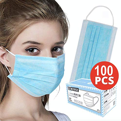 Surgical Face Masks – X100 BOXED 3Ply Non-Medical Face Masks UK Stock Blue EN149:2001 – Breathable, Disposable Face…