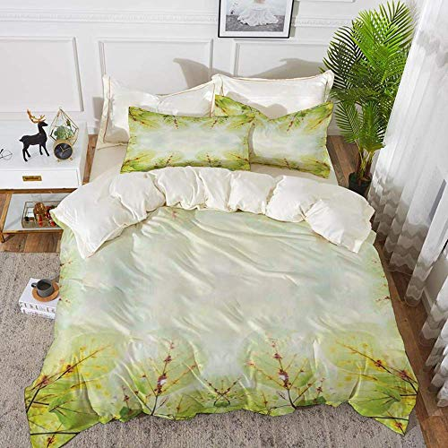 Farm Decor,Leaves on the Branches in the Autumn Forest Lush Vibrant Colors Botanic Artw,Hypoallergenic Microfibre Duvet Cover Set 200 x 200cm with 2 Pillowcase 50 X 80cm