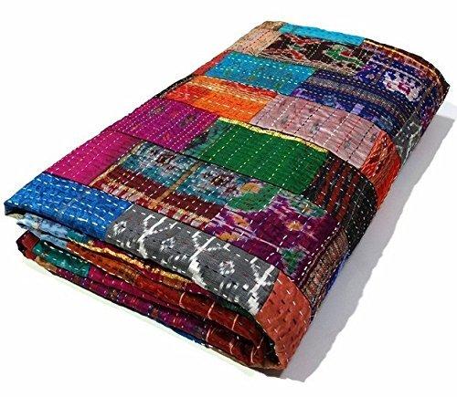 Manglam Arts - Colcha, seda, diseño Kantha Patola de patchwork, tamaño 228,6 x 274,32 cm, para cama doble tamaño queen