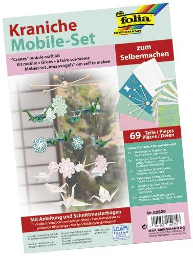 folia 22829 - Mobile Set Kraniche zum Selbermachen, mit 69 Teilen, Anleitung und Schnittmusterbogen - Komplettset zur Erstellung eines Mobiles