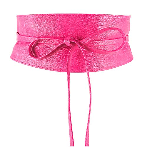 MYB Cintura fusciacca per donna in similpelle - modello obi - taglia unica - diversi colori disponibili (Fucsia)