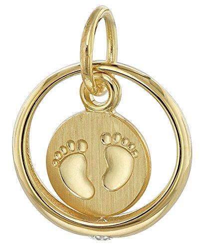trendor Taufring mit Baby-Fußabdruck 333 Gold (8 Karat) zauberhafter Taufschmuck für Mädchen, Jungen oder Mütter, schöne Geschenkidee zur Taufe, 08276