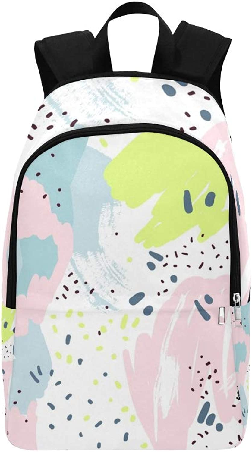 Brush Marker Pencil Stroke Abstract Casual Daypack Travel Bag College School Backpack for Mens and Women
