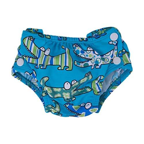 Popolini 040400-17-0364 Schwimmwindel mit Druckknöpfen, Größe verstellbar, Blau (Croco Blue)
