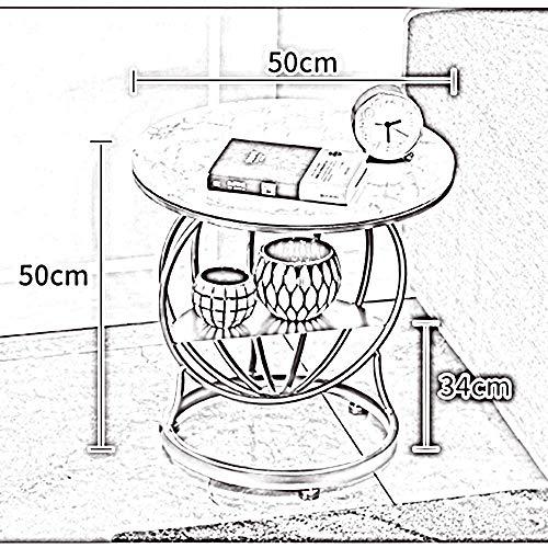 GUANGHEYUAN-J Tabla Plegable Ligeros Mármol Redonda Mesita, Mesita de luz, Metal Mesa de café, Sofá Mesita, 2 estantes, 50 * 50cm Tabla Plegable Ajustable