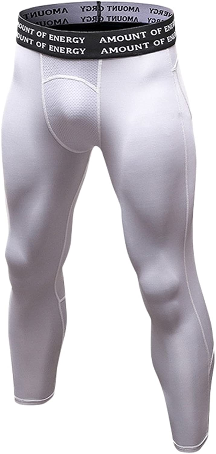 LANBAOSI Men's Compression Baselayer 3 4 Capri Tights Gym Cool Dry Leggings