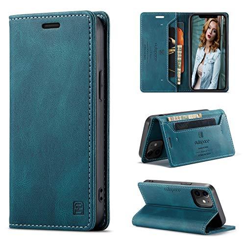 CaseNN Cover per iPhone 12 / iPhone 12 Pro 6,1'' Custodia Pelle Premium con Porta Carte Fe Portafoglio Magnetica Flip Wallet Case per Donne Uomini Libro Silicone con RFID Blocking - Blu-Verde