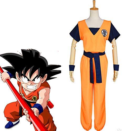 Dragon Ball Z Goku Saiyan Cosplay Costume Full Set 4 Pcs Unisex for Kids Adult Men Women Halloween Christmas,A,XL
