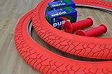 Deli Pair of 20' BMX Bicycle Slick RED Street Tires & Tubes 20X1.95