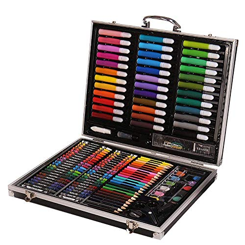 WCY Aquarellbürste Stift Set 150 Stück Kunst Studio mit Aluminiumgehäuse Kinderfarbe Färbung Set Kinder Buntstifte für Erwachsene und Kinderzeichnung (Farbe: Rosa, Größe: Freie Größe) yqaae