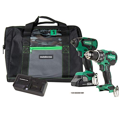 Metabo HPT 18V Cordless Combo Kit, Hammer Drill and Impact Driver, Brushless Motor, 1 - Compact 3.0Ah Lithium Ion Battery, LED Light, Lifetime Tool Warranty (KC18DBFL2S) (Renewed)