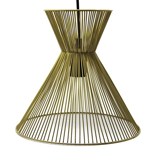 Bada Bing Hochwertige Pendelleuchte Im Retrodesign Lampe Eisen Gold Optik Hängelampe Lenka Retro Edel Stil der 60er 70er Deckenleuchte Deckenlampe 03
