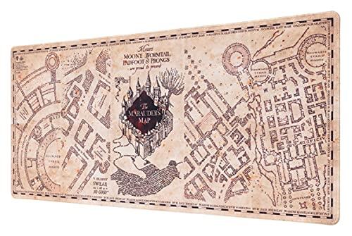 Grupo Erik - Tappetino mouse XXL Mappa del Malandrino Harry Potter, con base in gomma antiscivolo e con rifiniture di alta qualitá, 80x35 cm, 100% waterproof, tappetino mouse e tastiera