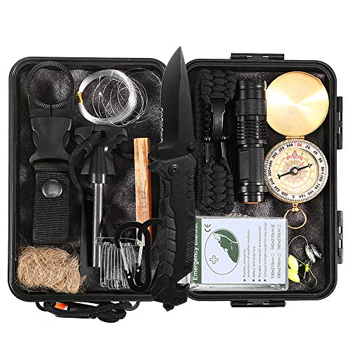 Lixada Kit de Supervivencia Emergencia 23 en 1 Multi Herramientas Suministros de Primeros Auxilios para Camping Senderismo Caza Pesca