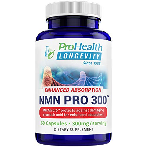 ProHealth NMN Pro 300 Enhanced Absorption (60 Capsules, 300mg per 2 Capsule Serving) Nicotinamide Mononucleotide | NAD+ Precursor | Supports Anti-Aging, Longevity and Energy | Non-GMO