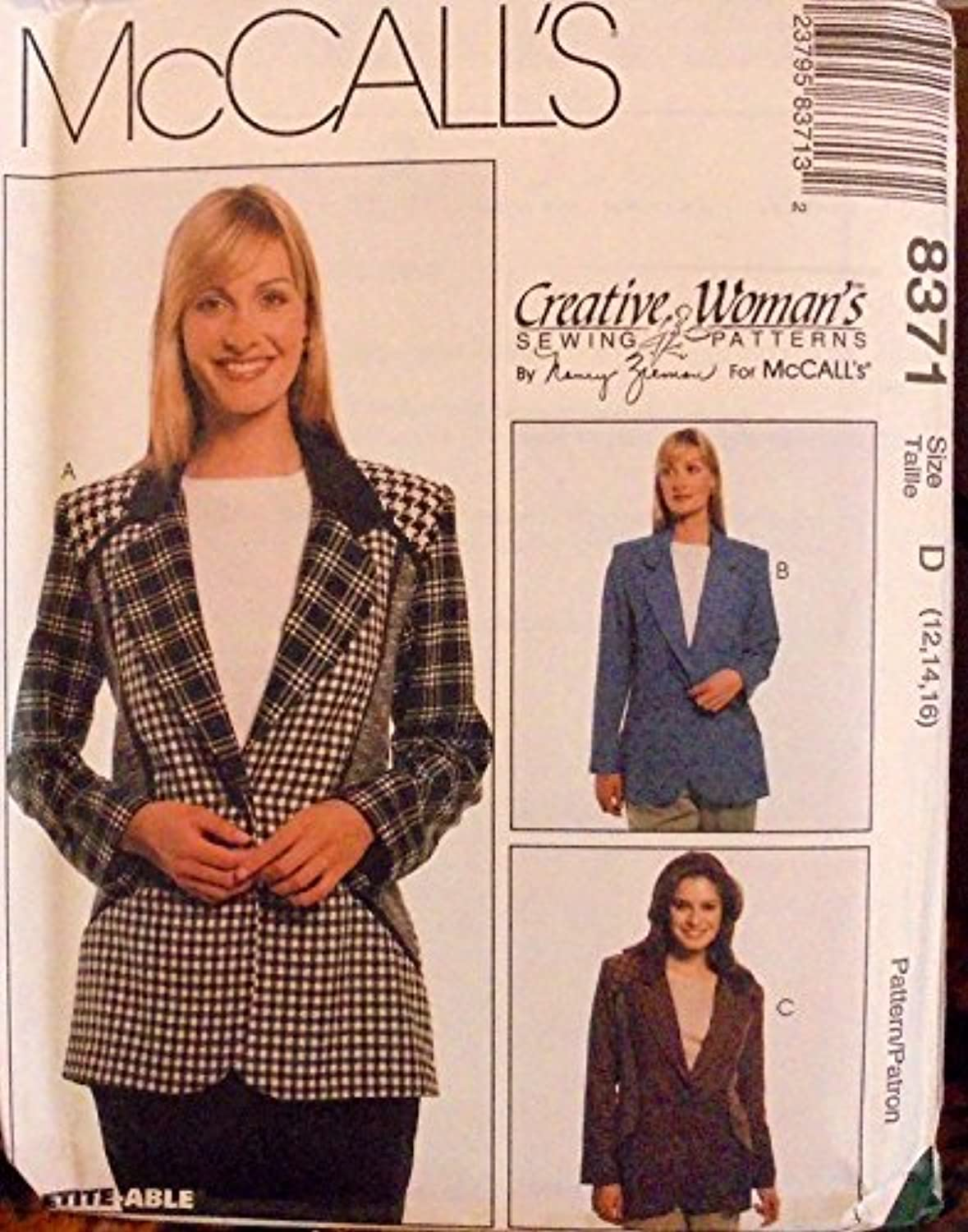 McCalls Sewing Pattern 8371 Creative Woman's Misses 12,14,16 Jacket 2 Lengths