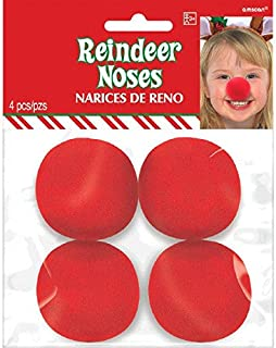 Amscan Festive Christmas Reindeer Noses Party Costume (4 Pack), 2 , Red