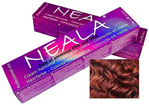 Professionele kleuring haarkleur zonder ammoniak en vrij van PPD en MEA -5.55- LICHT BRUIN MAHONIE ROOD - NEALA 100 ml.