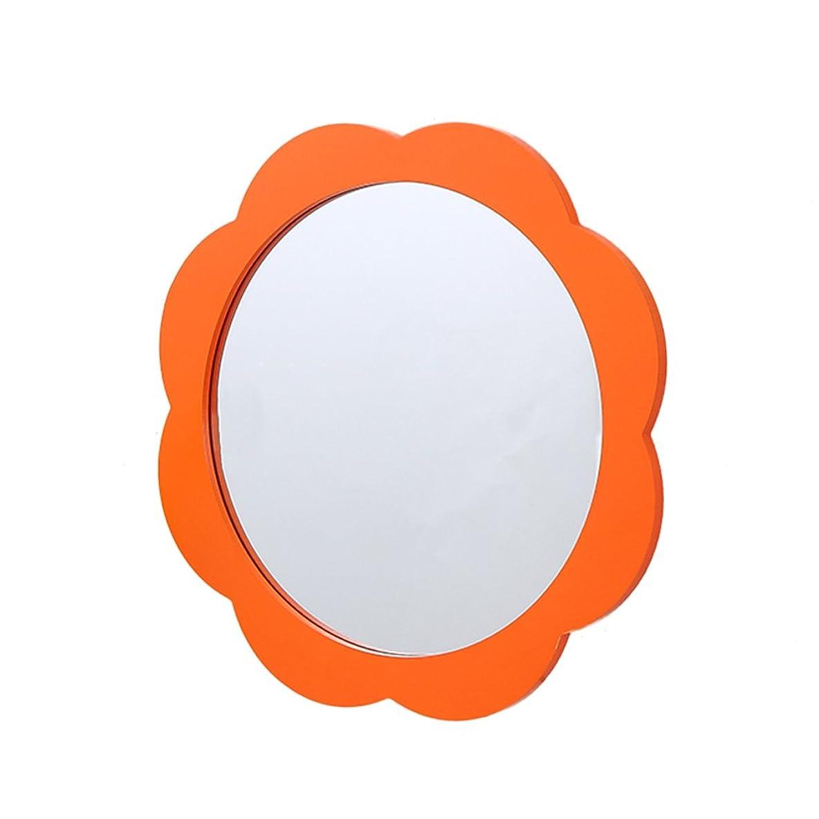 帝国主義認証歪めるJTWJ 幼稚園の壁の鏡、壁の鏡、子供の鏡、サイズ:39×39CM (色 : オレンジ)