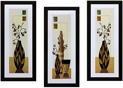 SAF Flower Textured UV Print Painting(Set of 3, 15 cm x 2 cm x 38 cm) SANFS01A