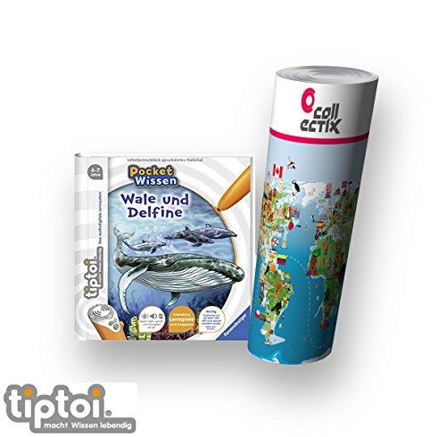 tiptoi Ravensburger Buch 4-7 Jahre | Pocket Wissen - Wale und Delfine + Kinder Weltkarten Poster | pocketwissen, Tip TOI