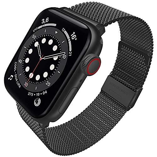 Supore iWatch Metal Correas Compatible con Apple Watch Correa 42mm 44mm 40mm 38mm, Pulsera de Repuesto con Hebilla de Metal de Acero Inoxidable Compatible con iWatch Series 6 5 4 3 2 1 SE (Negro)