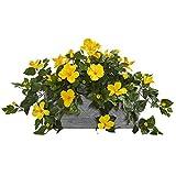 Kunstpflanze, Hibiskus-Stein, Fast natürlich, Gelb