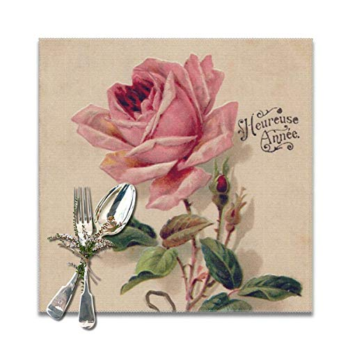 Juego de 6 manteles individuales de rosa vintage lavables, antideslizantes, cuadrados, 30,5 x 30,5 cm, para cocina, comedor, decoración del hogar