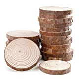 Fuhaieec 10pcs 4-4.7' (Thickness:0.42') Unfinished Natural Wood Circles with Tree Bark Log Discs for DIY Craft Christmas Rustic Wedding Ornaments (10pcs(4-4.7'))