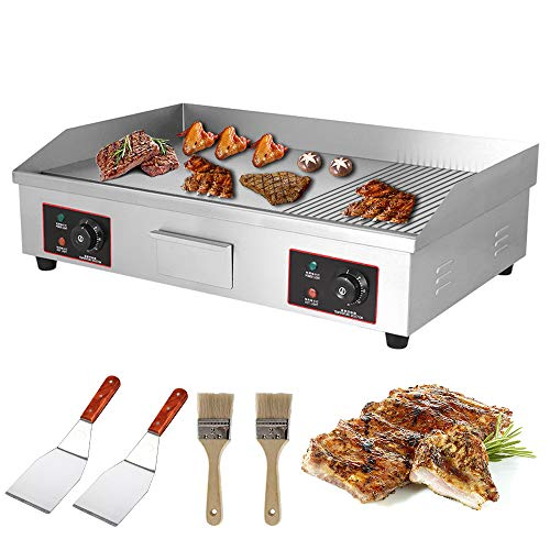 ZXMOTO 29'' Electric Countertop Griddle Grill 110V Nonstick Commercial Reataurant Grill 4400W Stainless Steel Griddle Grill w/Dual Temperature Control for Restaurant Kitchen,Flat & Grooved Grill