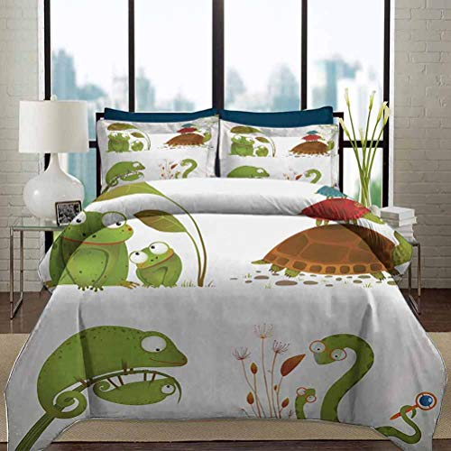 Reptile Duvet Cover Set Full Size Reptile Family Colorful Baby Collection Snake Frog Ninja Turtles Love Mother Decorative 3 Piece Bedding Set with 2 Pillow Shams Gift for Teens Kids Green Brown Red