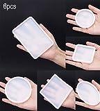 niCWhite, 6 stampi in resina, di forma quadrata e circolare, in silicone, per realizzare gioielli fai da te