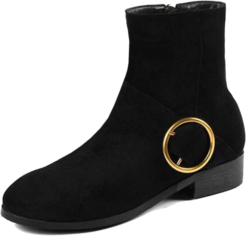 TAOFFEN Women Casual Flat Short Boots Zipper
