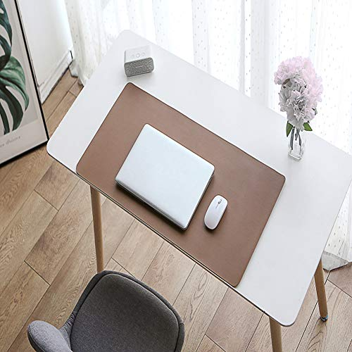 Desk Pad,Multifunctional Desk Pad Waterproof Desk Mat Pu Leather Desk Pad Smooth Surface Desk Mat Desk Writing Pad for Work Game Office Home-Brown Plus Light Gray 70x35cm(28x14inch)