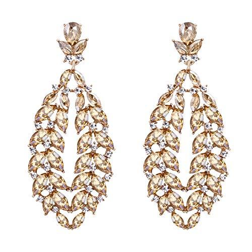 EVER FAITH Mujer Cristal Austríaco Boda Flor Hoja Lágrima Araña Pendientes Colgante Marrón Tono Dorado